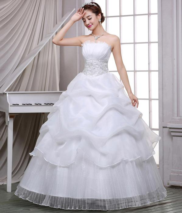 LASONCE Off The Shoulder Tiered Tulle Ball Gown Wedding Dresses Pleat Strapless Lace Appliques Backless Bridal Gowns