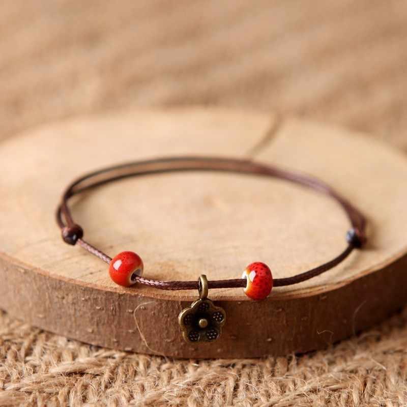 Шт. 1 шт.. Новые модные регулируемые Простые керамические браслеты ножные браслеты женские Оригинальные ручной работы модные ножные браслеты лист керамические украшения 39 #