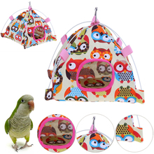 2 Styles Pet Bird Parrot Cage House Tent Shape Cloth Cartoon Foldable Nest Bed Cave for Products 1pc