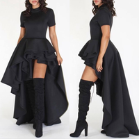 HOT Short Sleeve Ruffles Peplum Dress Zipper Back Irregular Mermaid Long Dress Plus Size Women Fashion Dress Vestidos Robe 2018