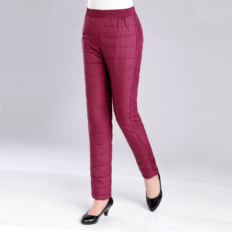 #1923 Winter 80% Duck Down Pants Women Warm Thickening Elastic High Waisted Warm Plus Size Trousers Middle Aged Red/Purple/Black