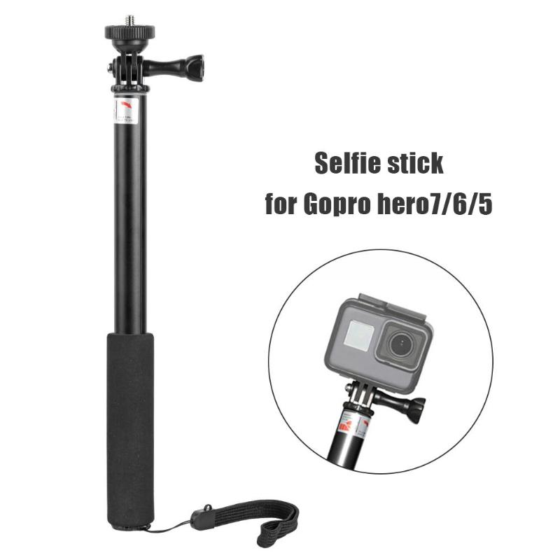 Extendable Aluminum Self Selfie Stick Monopod w/Adapter for GoPro 7 6 5 280*25*25mm/11.02*0.98*0.98