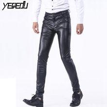 83c14705a3cd65 #2207 wiosna zima Skinny Faux spodnie skórzane mężczyzn Stretch PU  mężczyzna biegaczy moda Casual ołówek