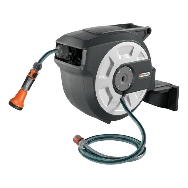 Катушка для шланга GARDENA 18402-20.000.00 (Высококачественный шланг 15 м, 2 м соединительного шланга, элементы OGS, наконечник для полива, автоматическая намотка шланга, защита от мороза, поворот катушки на 180°)