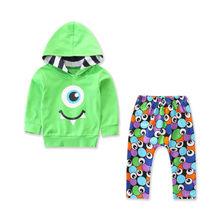 2PCS children baby toddler boy girl hoodie clothes suit eyes print long sleeve green T shirt