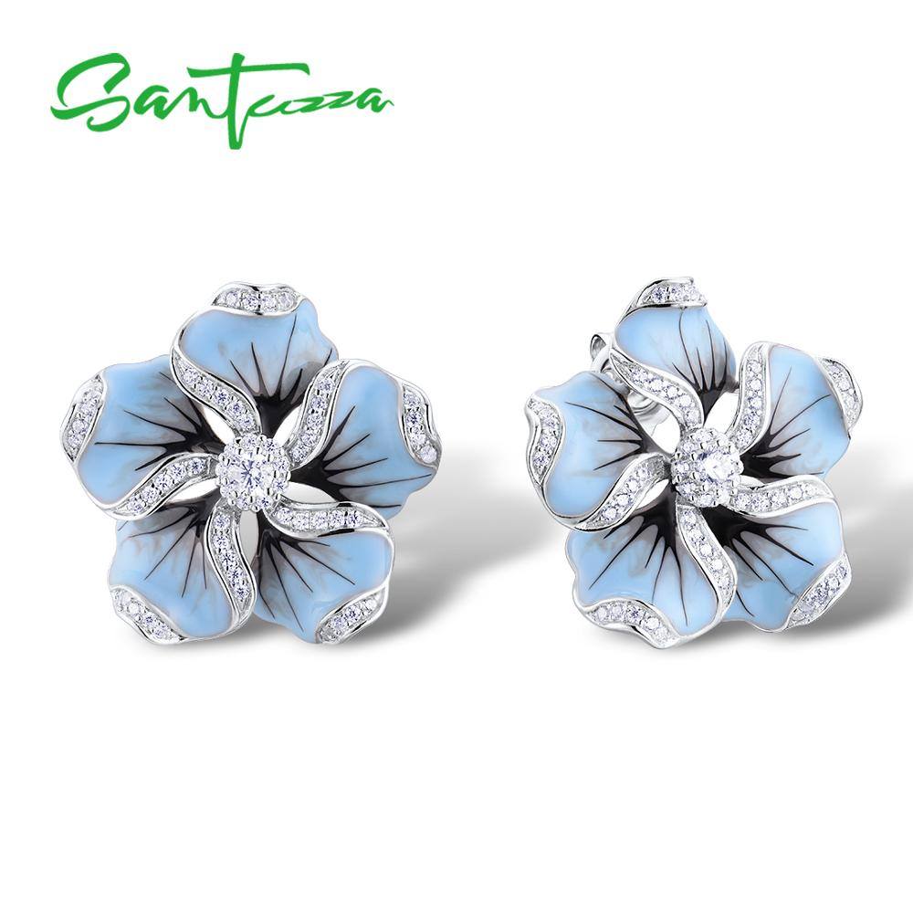 SANTUZZA Silver Stud Earrings For Women 925 Sterling Silver Blue Flower Sparkling Cubic Zirconia Fashion Jewelry Handmade Enamel