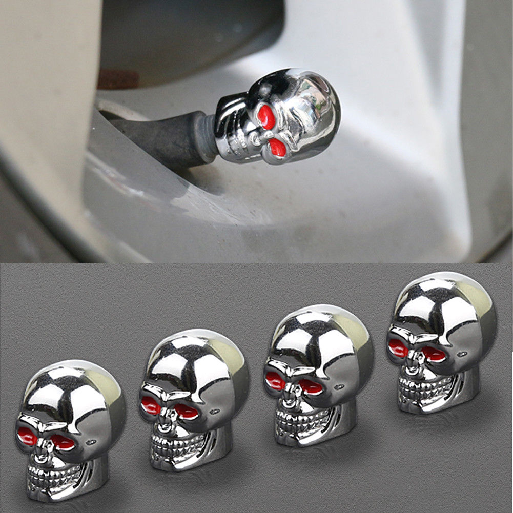 Silver Abfer Car Tire Vale Stem Cap Skull Shape Valve Pressure Caps Covers Fit Most Vehicle Truck Motorcycles Bikes