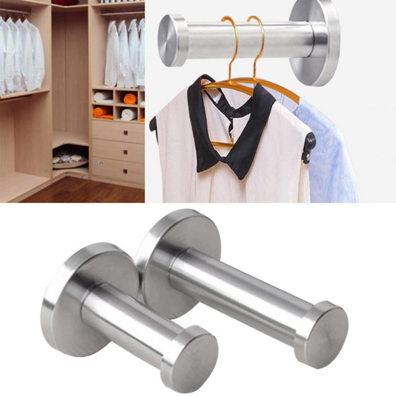 Coat Silver Hook Bathroom Wall Mount Stainless Steel Cylinder Towel Utility Strong Robe