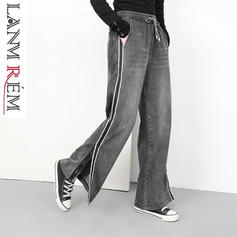 LANMREM 2018 New Fashion Elasticated Waist Vent Bottoms Washed Jeans Casual Loose   Wide     Leg     Pant   Women's Trousers Personal YG023