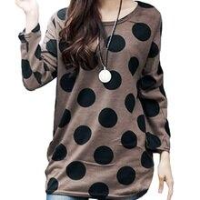 Korean Fashion Women Slouchy Shirt Polka Dot Round Neck Knitted Long Shirt Pullover Tops Coffee