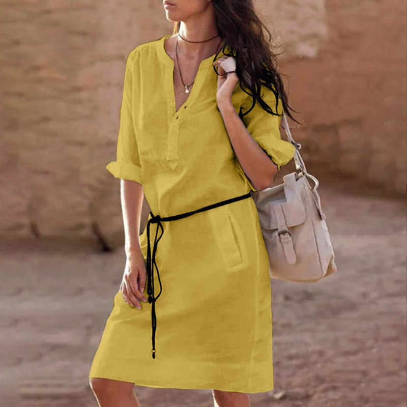 Women Long Sleeve Shirt Dress 2019 Summer Cotton Boho Beach Dresses Loose Women Casual solid A-line Party Evening Vestidos Dress