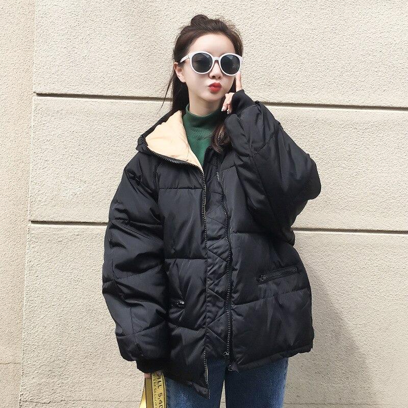Coats Woman Winter 2018 New Loose Solid Zipper Fashion   Parka   Cotton-padded Jacket Female Hooded Warm Short Winter Jacket Women