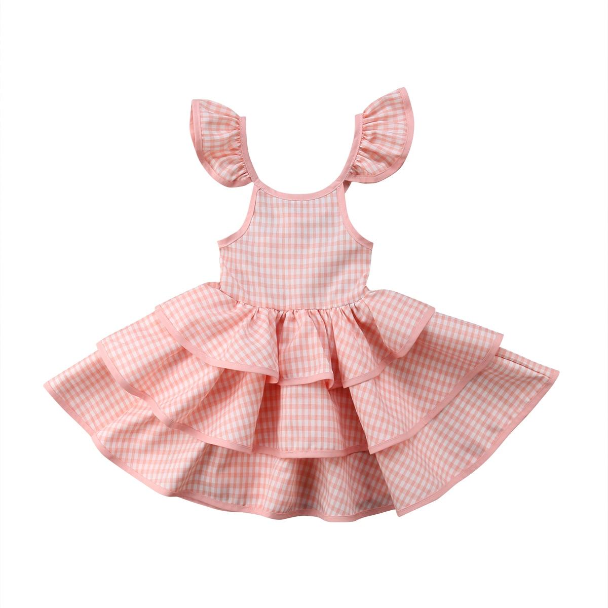 New Toddler Kids Baby Girls Plaid Dress Princess Tulle Summer Sleeveless Dresses
