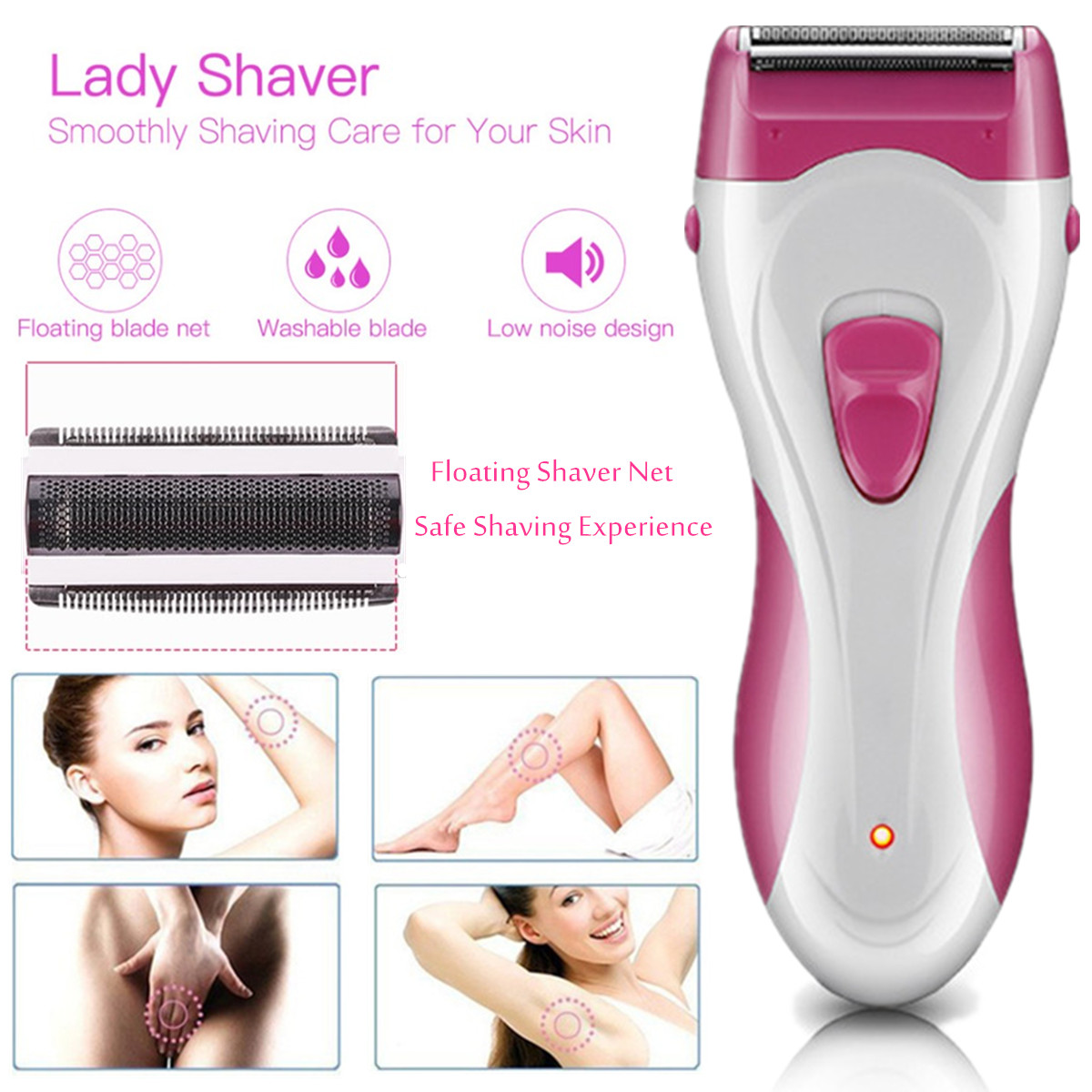 SG-661 Womens Electric Lady Shaver Razor Epilator Arm Leg Armpit Body Hair Remover Trimmer Waterproof Rechargable for Face Body