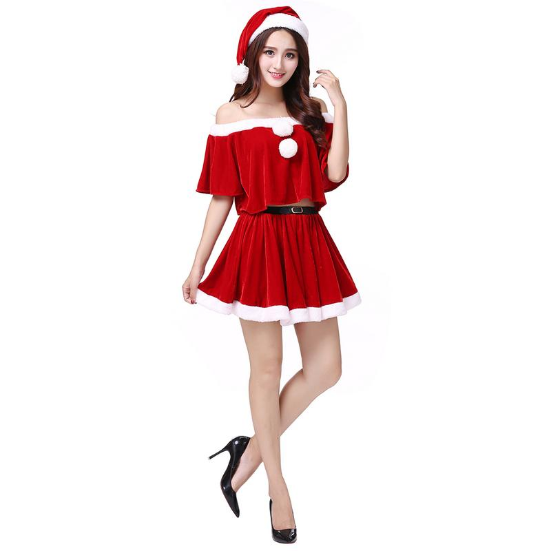 Christmas Dress Women Christmas Costume For Adult Red Velvet Fur Dresses Hooded Sexy Female Santa Claus Costume