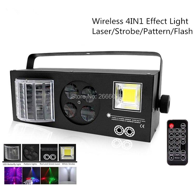 Sans fil Télécommande 4IN1 à Effet de Scène LED, 4 yeux Modèles Gobo Lumière RG Laser LED Papillon Lumière Blanc Stroboscopique Lampes