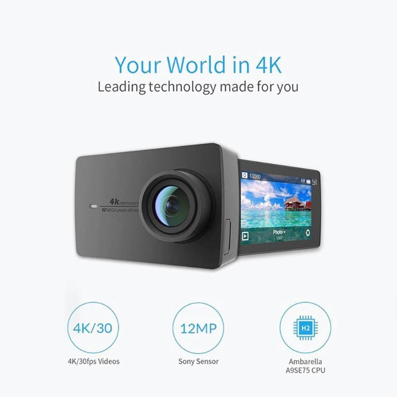 Xiaomi YI 4 K caméra d'action Ambarella A9SE75 sport Mini caméra bras 12MP CMOS 2.19in 155 degrés écran tactile Wifi