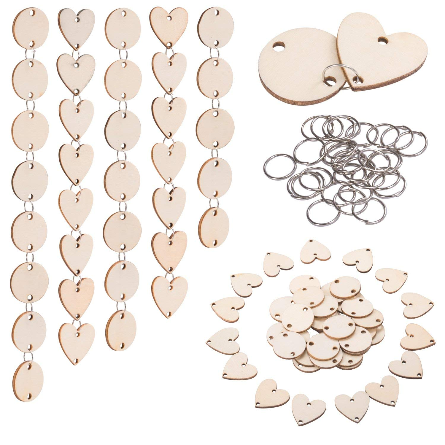 200 Pieces In Total, Wooden Circles Wooden Heart Tags With Holes And 12 Mm Rings For Birthday Boards, Valentine, Chore Boards,