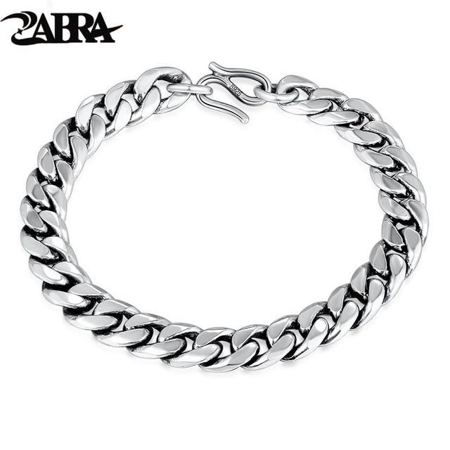 ZABRA 2 Vintage Chain Link Bracelet For Men Women Lover 10mm 8mm Width Solid 925 Sterling Silver Biker Gift Fashion Jewelry