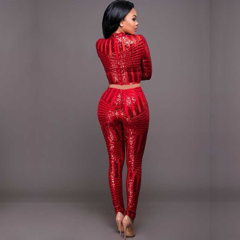 448a1e7072 US $29.37 35% OFF red sequin glitter sexy bodycon women cropped two piece  set top and pants black suit winter party club sparkly womens clothing-in  ...