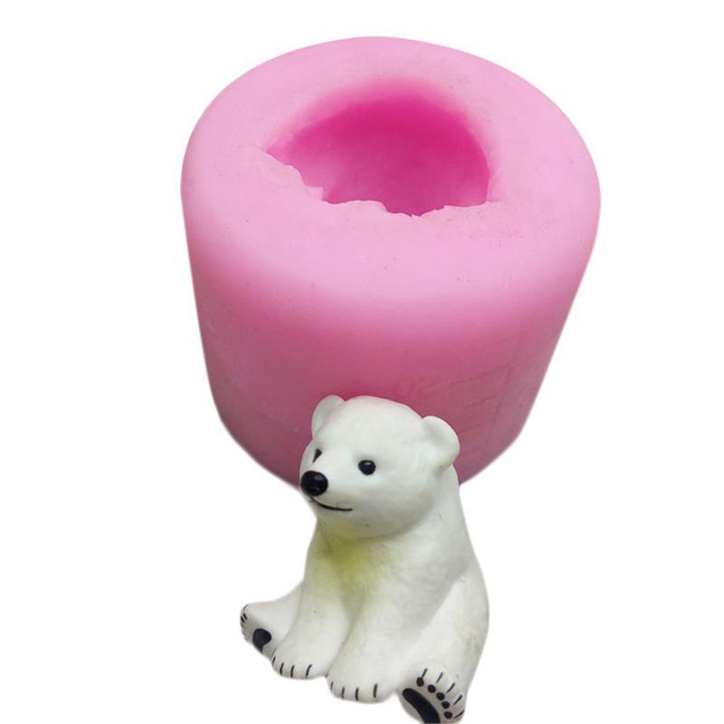 Cute Craft 3D Polar Bear Aromatherapy Gypsum Car Display Candle Gypsum Mold Cake Decoration DIY Silicone Mould