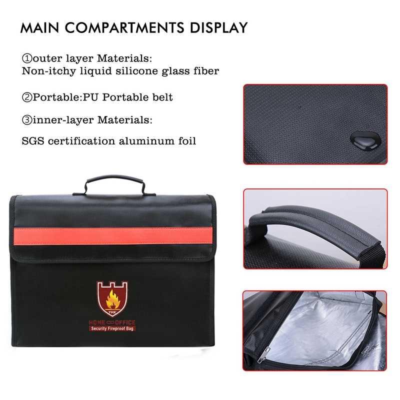 Новый огнеупорный мешок для документов не-зуд стекловолокна ткань водонепроницаемый держатель с плечевым ремнем ручка сумка