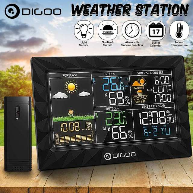 LCD Color Weather Station + Outdoor Remote Sensor Thermometer Humidity Snooze Clock Sunrise Sunset Calendar