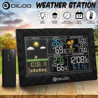 DIGOO DG TH8988 LCD Color Weather Station + Outdoor Remote Sensor Thermometer Humidity Snooze Clock Sunrise Sunset Calendar