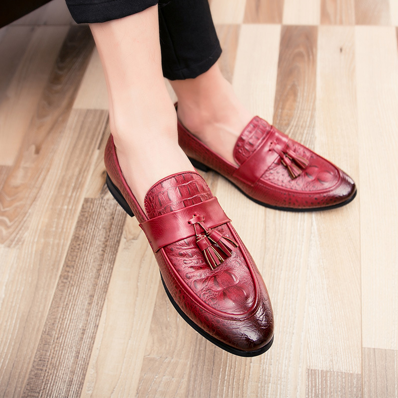 Men's Shoes Responsible Drop Shipping Fashion Mens Tassel Office Footwear Leather Italian Formal Snake Skin Dress Shoes 2019 New Fashion Exquisite Traditional Embroidery Art