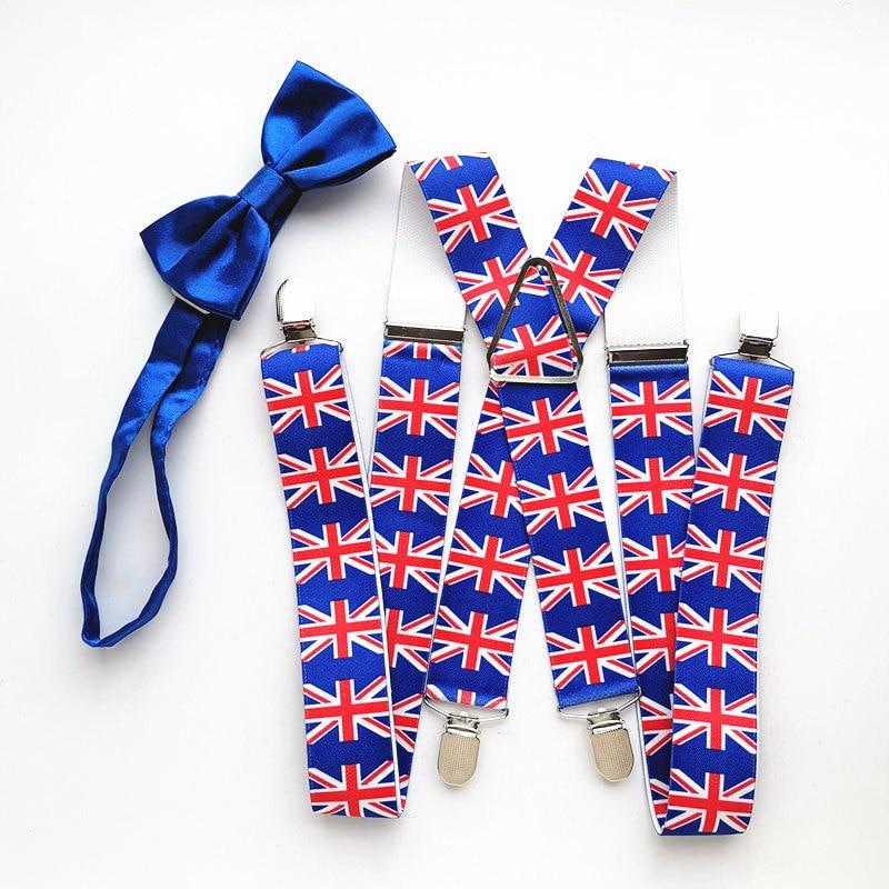 New Design British Flag Suspender Royal Blue Butterfly Bow Tie Set Big Men Women Adult Braces Neck Tie Match Shirt LB045