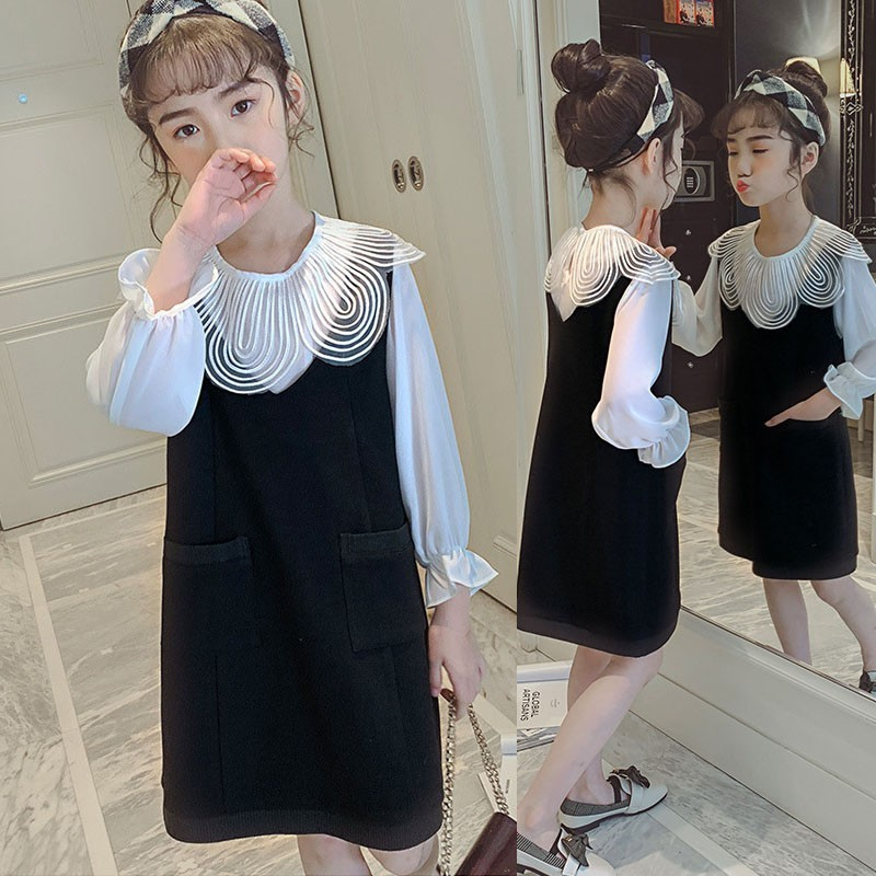 2 Pcs Dress Big Girls Kids Clothing Sets Girl Outfit Set Black Sleeveless Dresses + White Long Sleeve Shirts  Clothes Suits2 Pcs Dress Big Girls Kids Clothing Sets Girl Outfit Set Black Sleeveless Dresses + White Long Sleeve Shirts  Clothes Suits