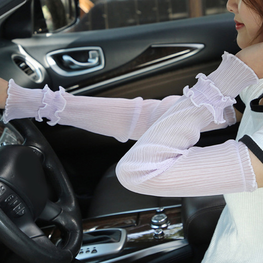 Summer New Pleated Yarn Long Sleeved Girls Gloves Mesh Star Ice Sleeve Driving Sun Protection Women Long Arm Glove