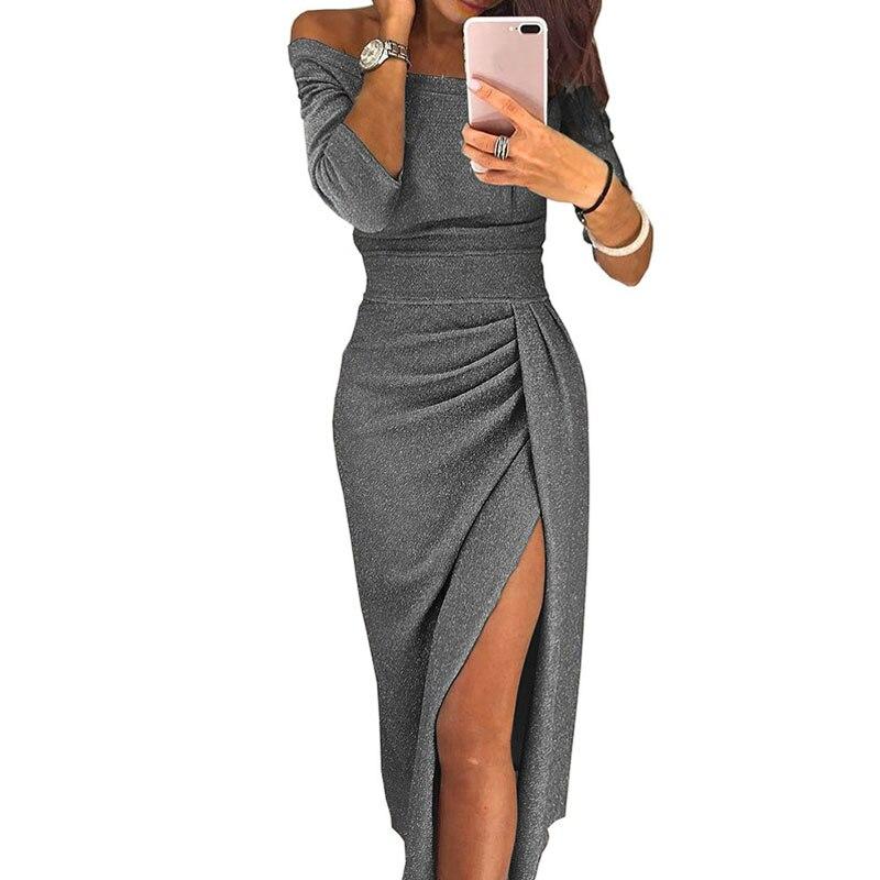 Для женщин с открытыми плечами, вечернее вечерние платье женские блестящие вечернее платье женское платье-макси элегантная женская обувь н...