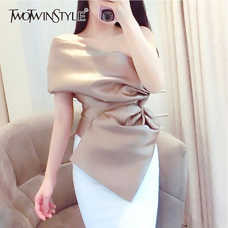 TWOTWINSTYLE Korean Off Shoulder Sexy Women Blouse Sleeveless Irregular Solid Shirt Female Spring 2020 Fashion Clothes New