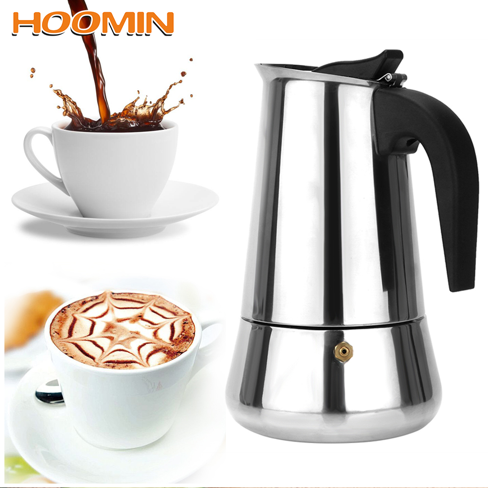 300mL450mL:  HOOMIN 300mL/450mL Coffee Pot Moka Coffee Maker Teapot Stainless Steel Gadgets Coffeeware - Martin's & Co