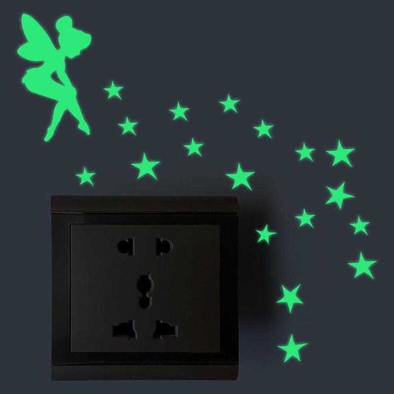 Bonito adesivo de parede Luminosa Verde-luz de Incandescência Luminosa Interruptor Etiqueta Dos Desenhos Animados Adesivos de Parede para o bebê para a idade