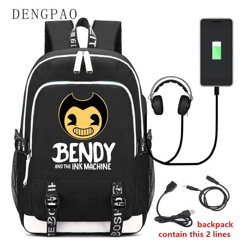 DENGPAO Bendy et la Machine à encre USB sac à dos pour ordinateur portable avec impression enfants adolescent cartable sacs d'école mode mochilas femininas