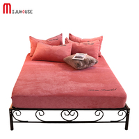 100% Velvet Mattress Cover Twin Full Queen Size Bed Embroidery Craft Fitted Sheet 1 Piece Solid Color Bed Sheet