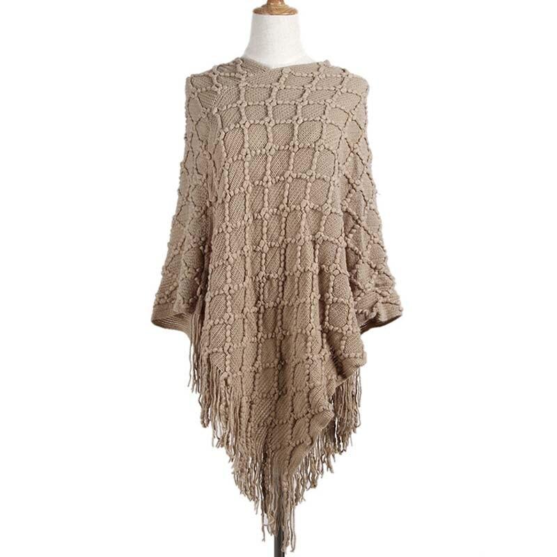 2020 Swing Tassel Knitted Sweater Women Winter Long Wrap Cloak Women Sweaters Long Sleeve Ladies Cloak Coat For Women 38