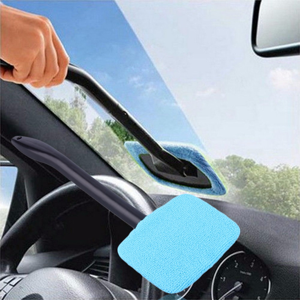 Plastic Windshield Cleaner Microfiber Auto Window Cleaner Long Handle Brushes Sponges Handy Washable Car Cleaning Tool 32