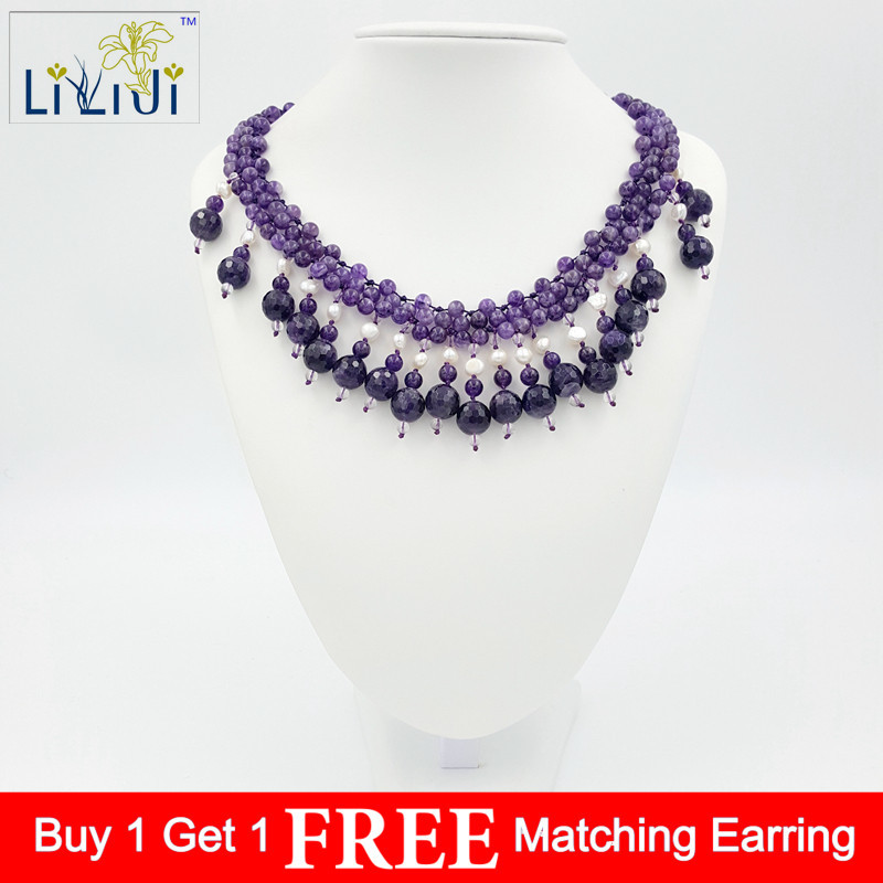 LiiJi Unique Natural Stone Amethysts&Real Natural White Freshwater Pearl jades Toggle Clasp Necklace Fashion Women Jewelry certificate women necklace sweater chain natural jadeite jades a flower petal pendant gift for women s fashion jades jewelry