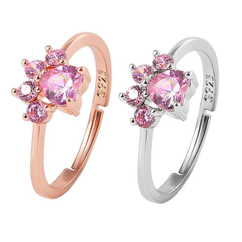 High Quality Stylish Pattern Shape Crystal Paw Ring