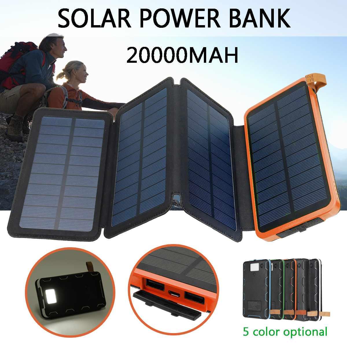 Chargeur solaire pliable de batterie de chargeur solaire de panneau solaire de 20000 mAh double batterie externe Mobile portative dusb pour le Camping en plein airChargeur solaire pliable de batterie de chargeur solaire de panneau solaire de 20000 mAh double batterie externe Mobile portative dusb pour le Camping en plein air