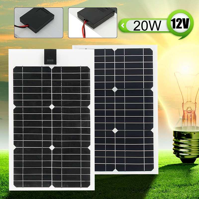 Flexible Solar Panel Plate 12V 20W Solar Charger for Car Battery Charging 18V Monocrystalline Cell Module