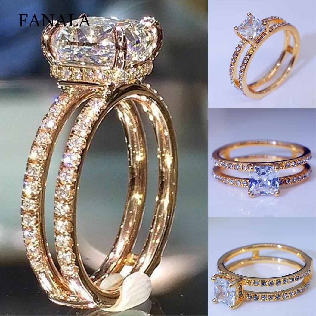 Tireless Fashion Women Engagement Rhinestone Double Layer Ring Wedding Jewelry 18.9mm/0.74inch 19.8mm/0.78inch Gift Wedding & Engagement Jewelry