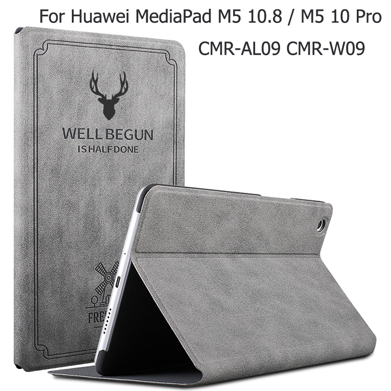 Magnetic Matte Leather Smart Case For Huawei MediaPad M5 10.8 / 10 Pro CMR-AL09 CMR-W09 Auto Wake Sleep Stand Flip Cover + Gift for huawei mediapad m5 pro premium leather business folio stand auto wake up case for huawei mediapad m5 10 8 cmr al09 cmr w09