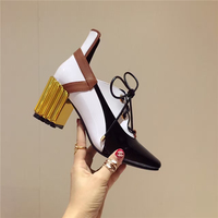 2018 Hot Summer Spring Shoes Woman Leather High Metal Square Heels Square Toes Cross Tied Show Pumps Fashion Office Shoes Woman