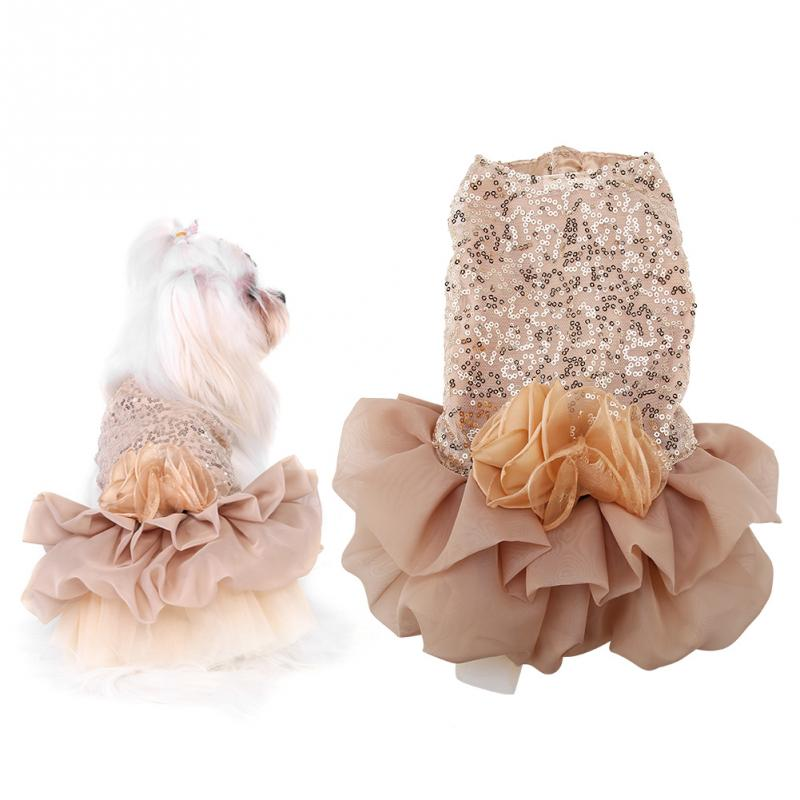 New Style Summer Pet Costume Small Dog Lace Dress Puppy Sequined Princess Bubble Skirt Wedding Clothes Dog Dresses Pet Products