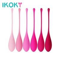 IKOKY 6 Pieces/set Smart Vagina Trainer Exercise Vagina Tightening Massager Love Ben Wa Ball Silicone Kegel Ball