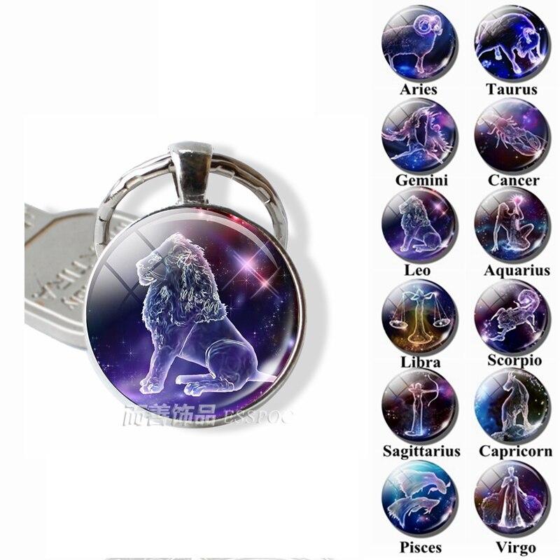 12 Zodiac Signs Keyrings Constellation Cute Cabochon Keychain Jewelry Scorpio Sagittarius